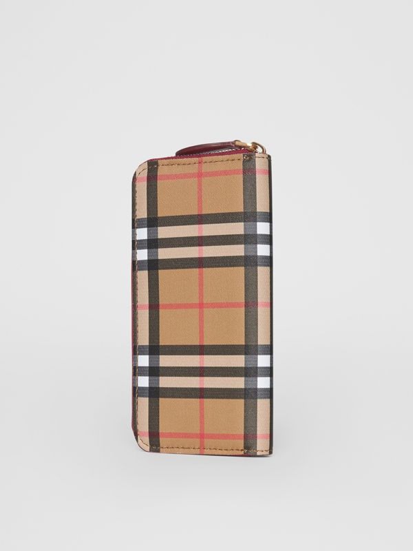 Vintage Check and Leather Ziparound Wallet in Crimson - Women | Burberry United States - cell image 2