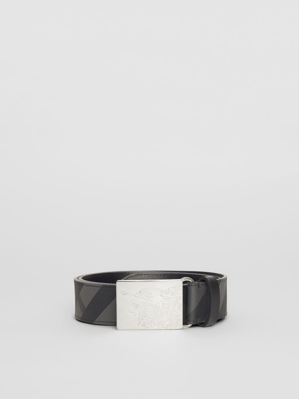 EKD Plaque Buckle London Check and Leather Belt in Charcoal/black - Men | Burberry - cell image 3