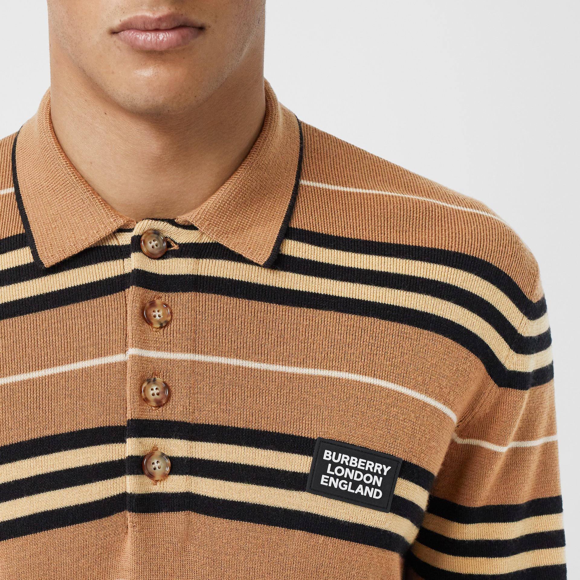 Long-sleeve Icon Stripe Merino Wool Polo Shirt in Warm Walnut - Men | Burberry United Kingdom - gallery image 1