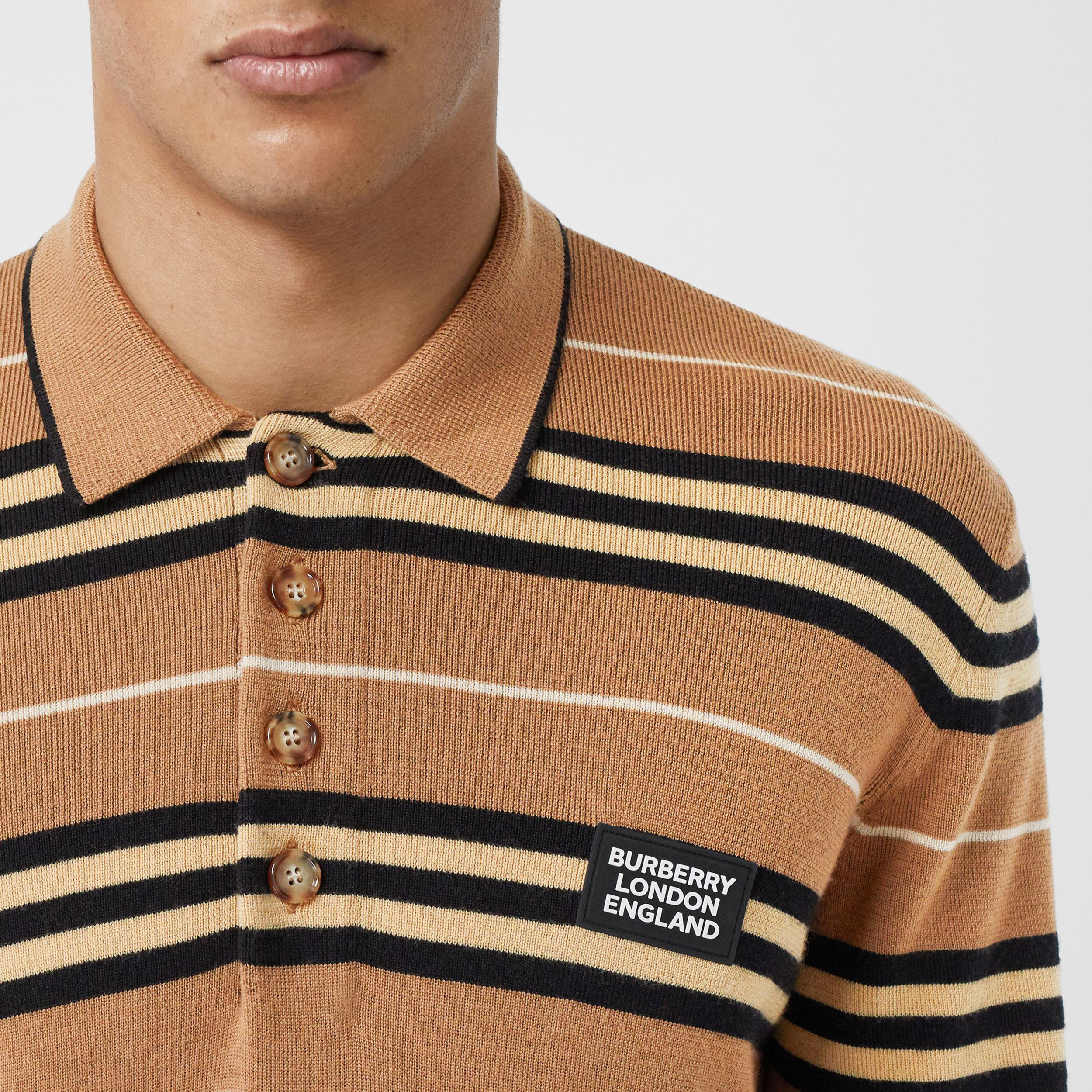 Long-sleeve Icon Stripe Merino Wool Polo Shirt in Warm Walnut - Men | Burberry United States - 2
