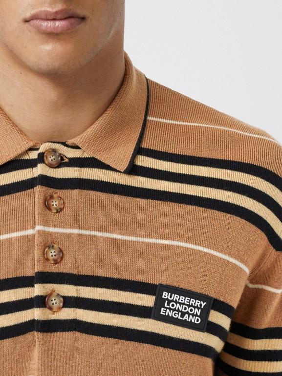 Long-sleeve Icon Stripe Merino Wool Polo Shirt in Warm Walnut - Men | Burberry United Kingdom - cell image 1