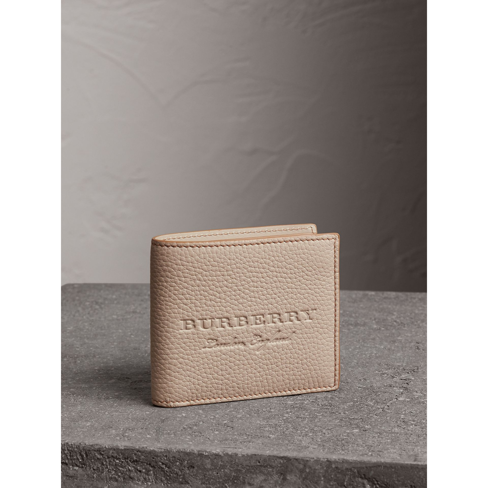 Embossed Leather Bifold Wallet in Chino - Men | Burberry - gallery image 1