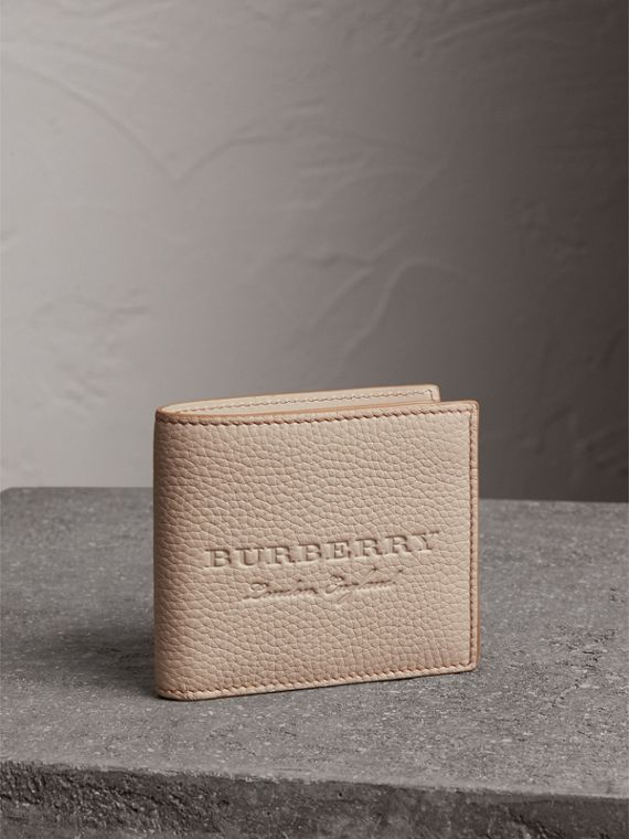 Embossed Leather Bifold Wallet in Chino