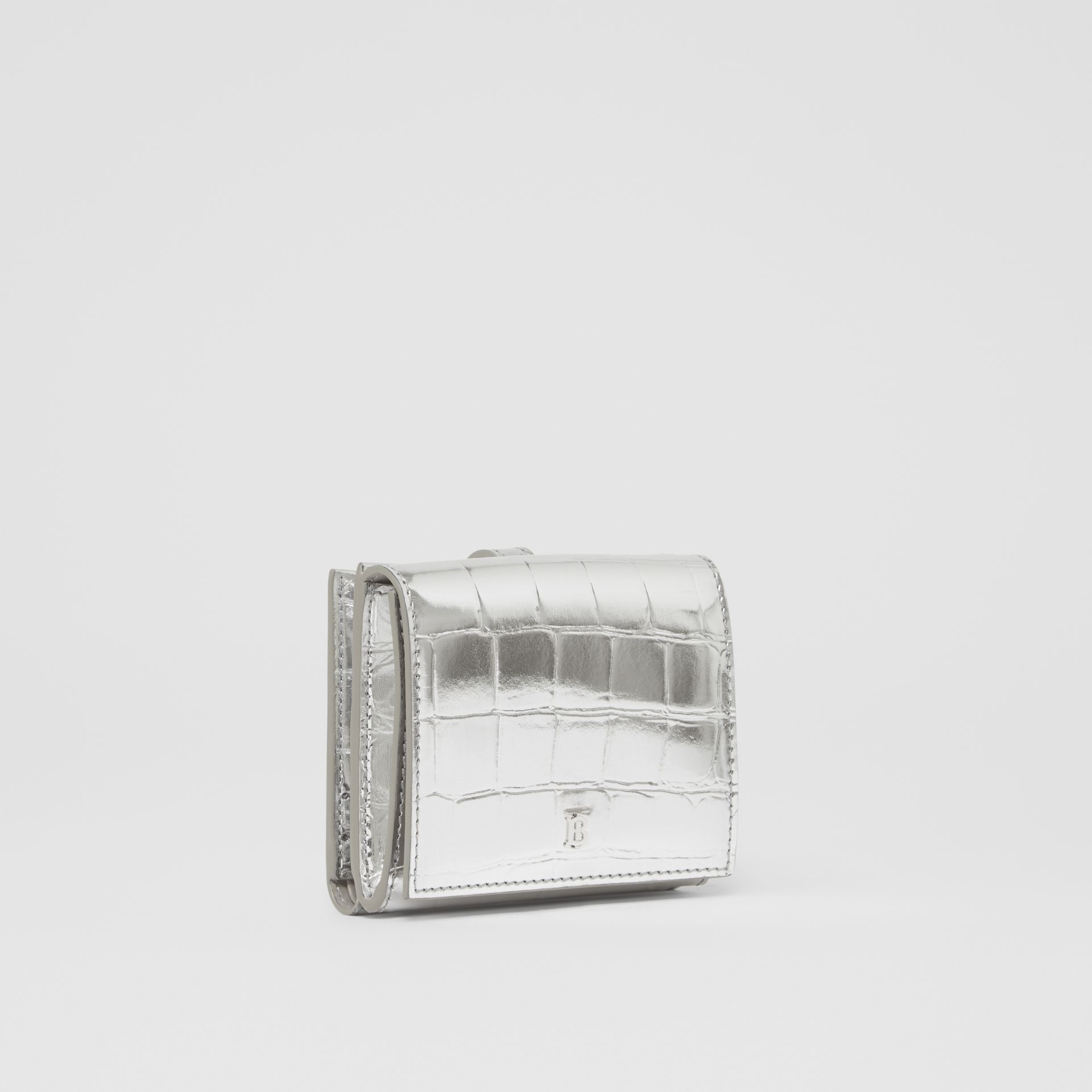 Metallic Embossed Folding Wallet in Silver - Women | Burberry United Kingdom - gallery image 4