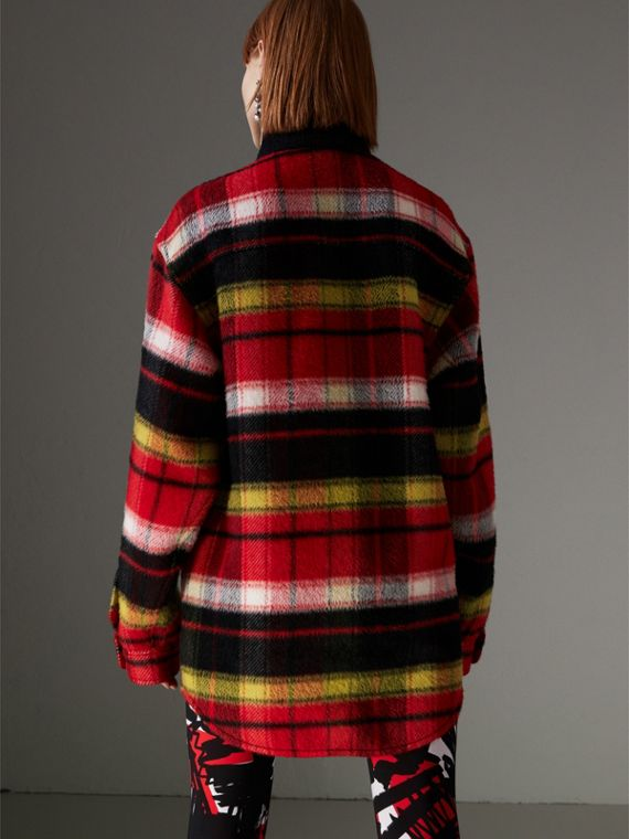 Check Alpaca Wool Jacket in Bright Navy - Women | Burberry United Kingdom - cell image 2