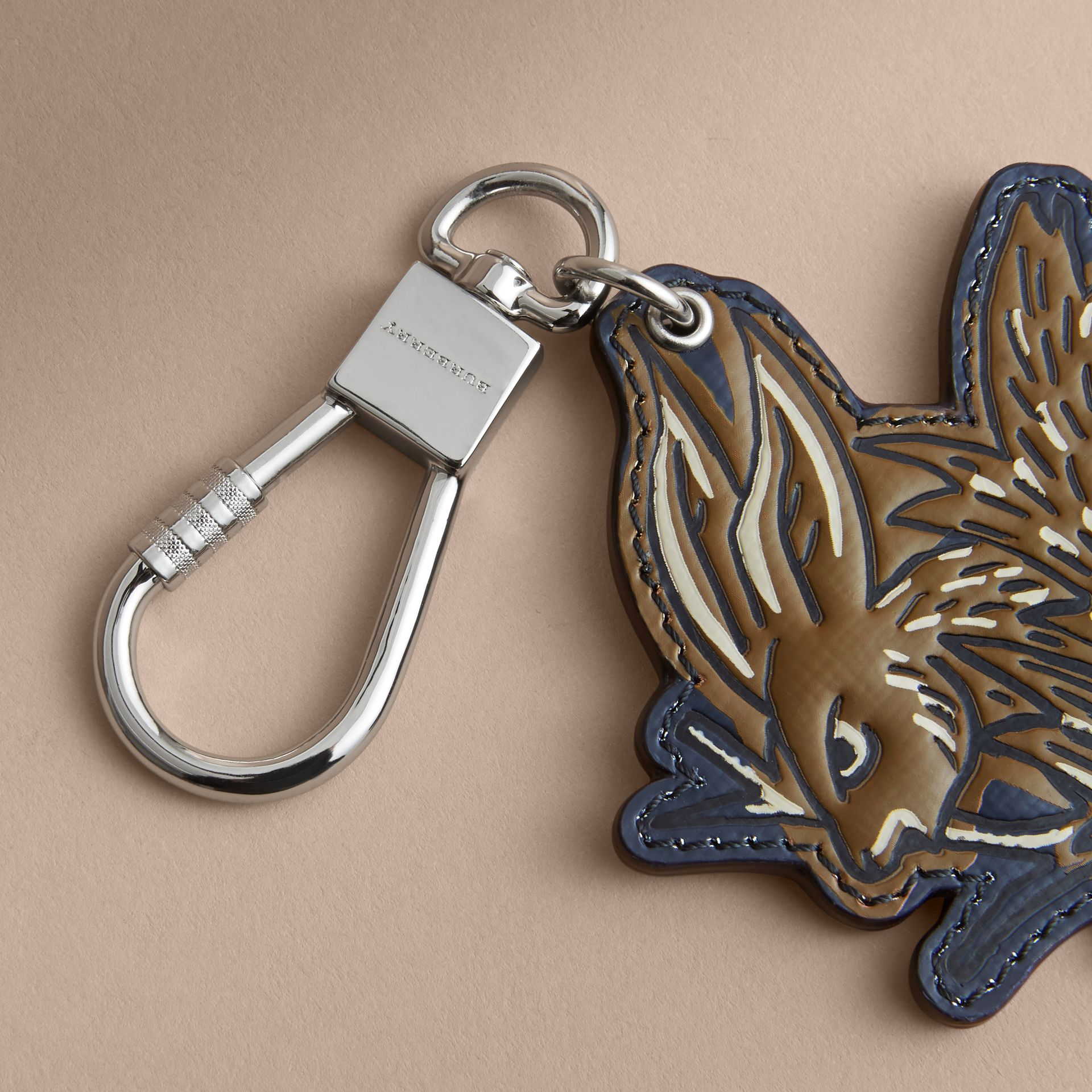 Beasts Leather Key Ring in Tan - gallery image 2