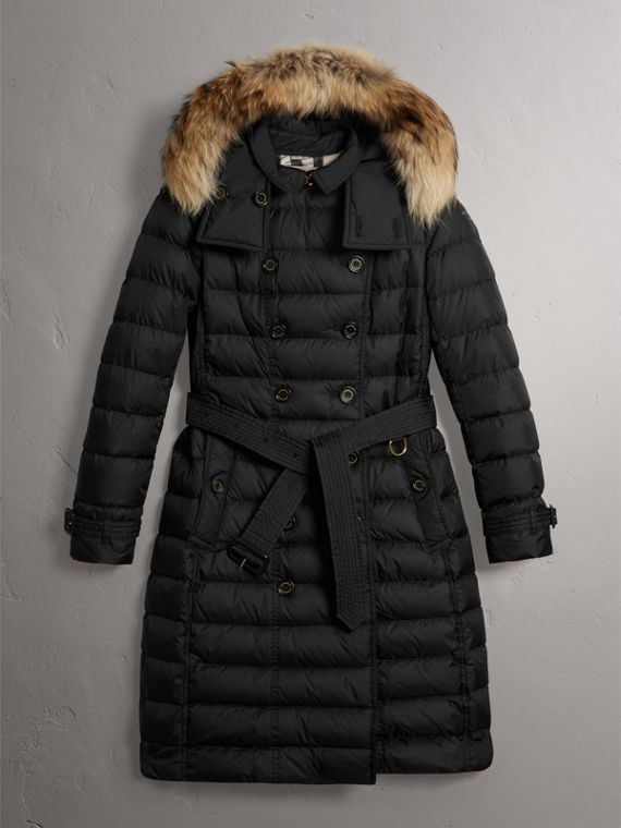 Detachable Hood Fur Trim Down-filled Puffer Coat in Black - Women | Burberry Australia - cell image 3