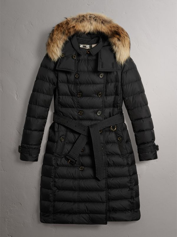 Detachable Hood Fur Trim Down-filled Puffer Coat in Black - Women | Burberry United States - cell image 3