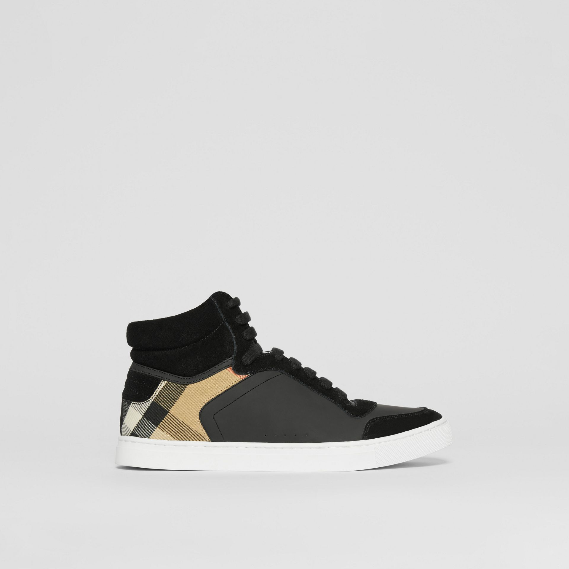 Leather, Suede and House Check High-top Sneakers in Black - Men | Burberry United States - gallery image 4