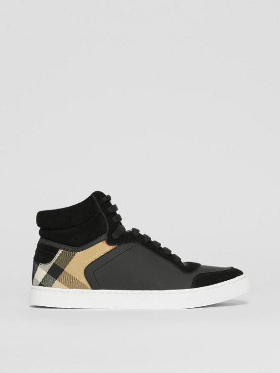 Leather, Suede and House Check High-top Sneakers in Black