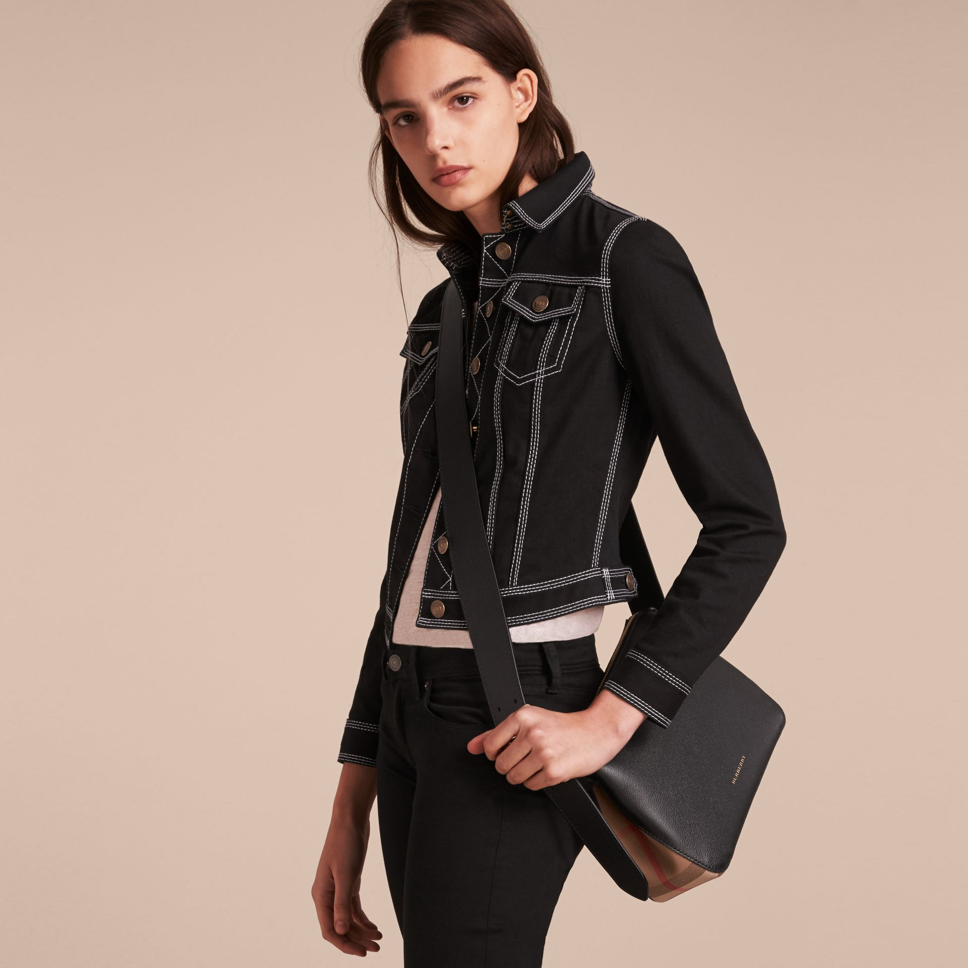 Buckle Detail Leather and House Check Crossbody Bag in Black - Women | Burberry Canada - gallery image 3
