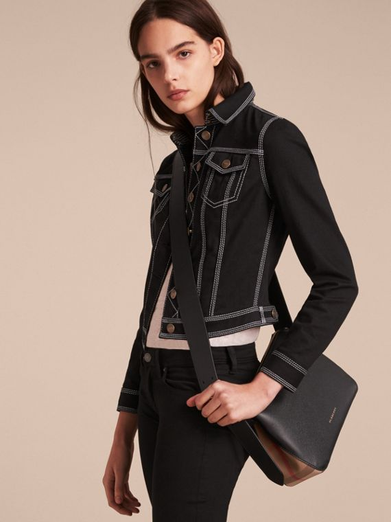 Buckle Detail Leather and House Check Crossbody Bag Black - cell image 2