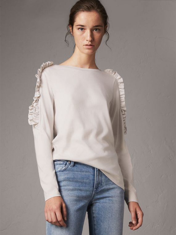 Ruffle Detail Cotton Top in Winter White