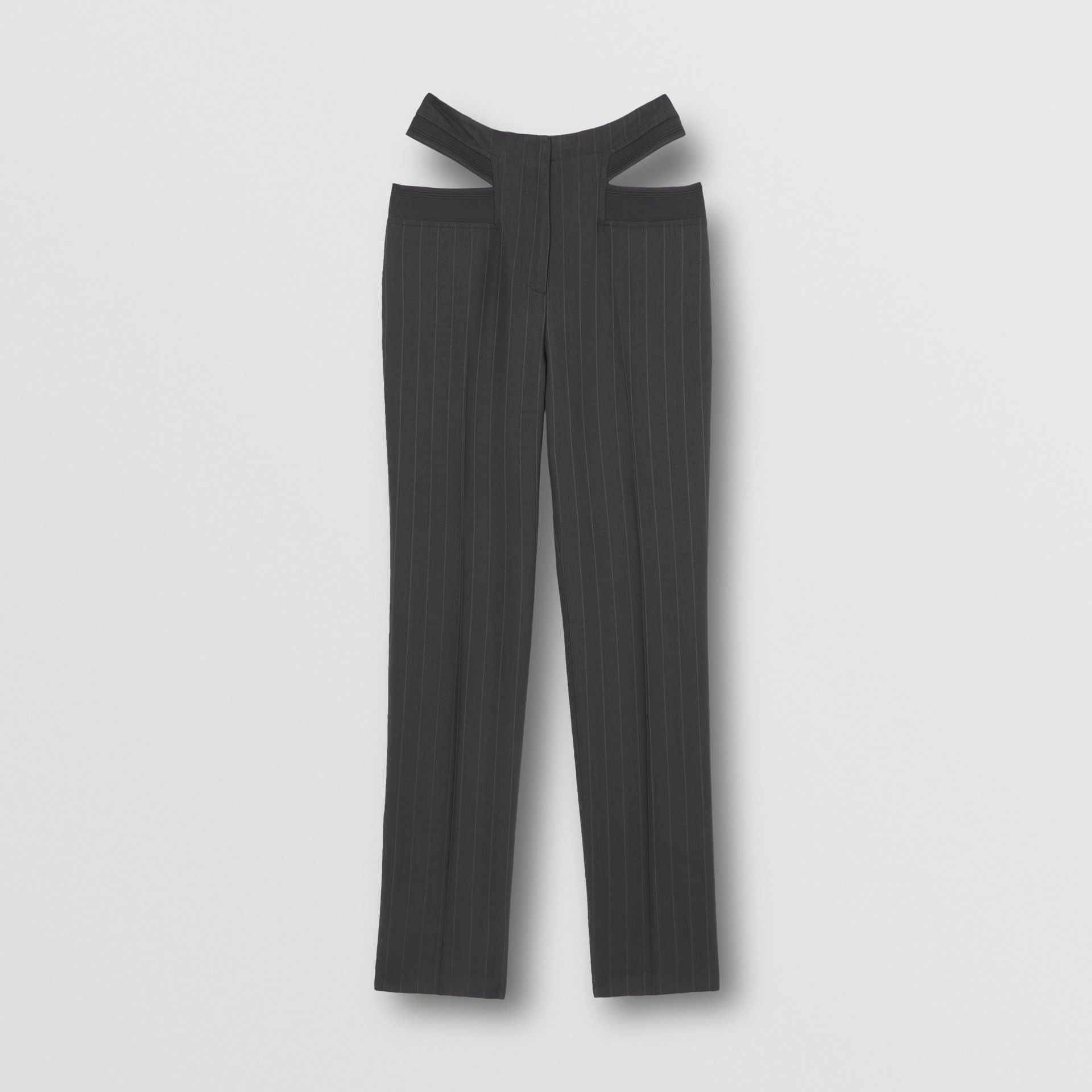 Pinstriped Technical Twill Reconstructed Trousers in Black - Women | Burberry United Kingdom - gallery image 3