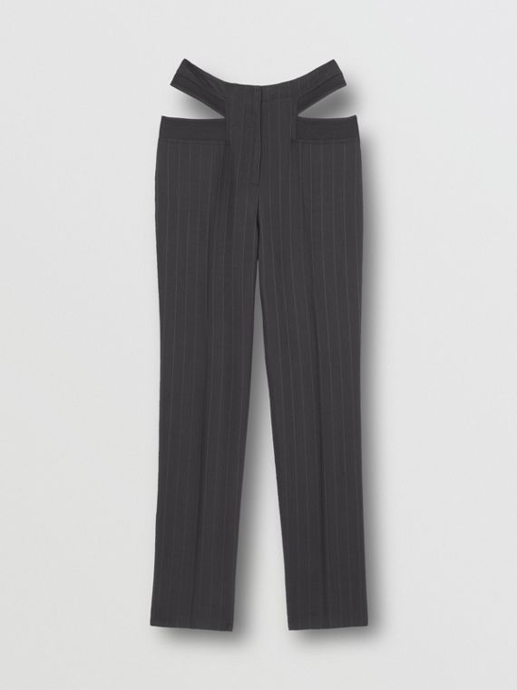 Pinstriped Technical Twill Reconstructed Trousers in Black