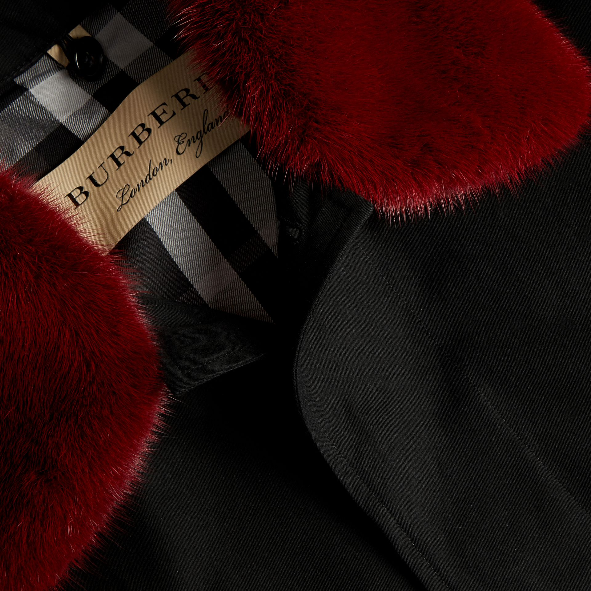 Black Cotton Car Coat with Detachable Mink Collar and Warmer - gallery image 2