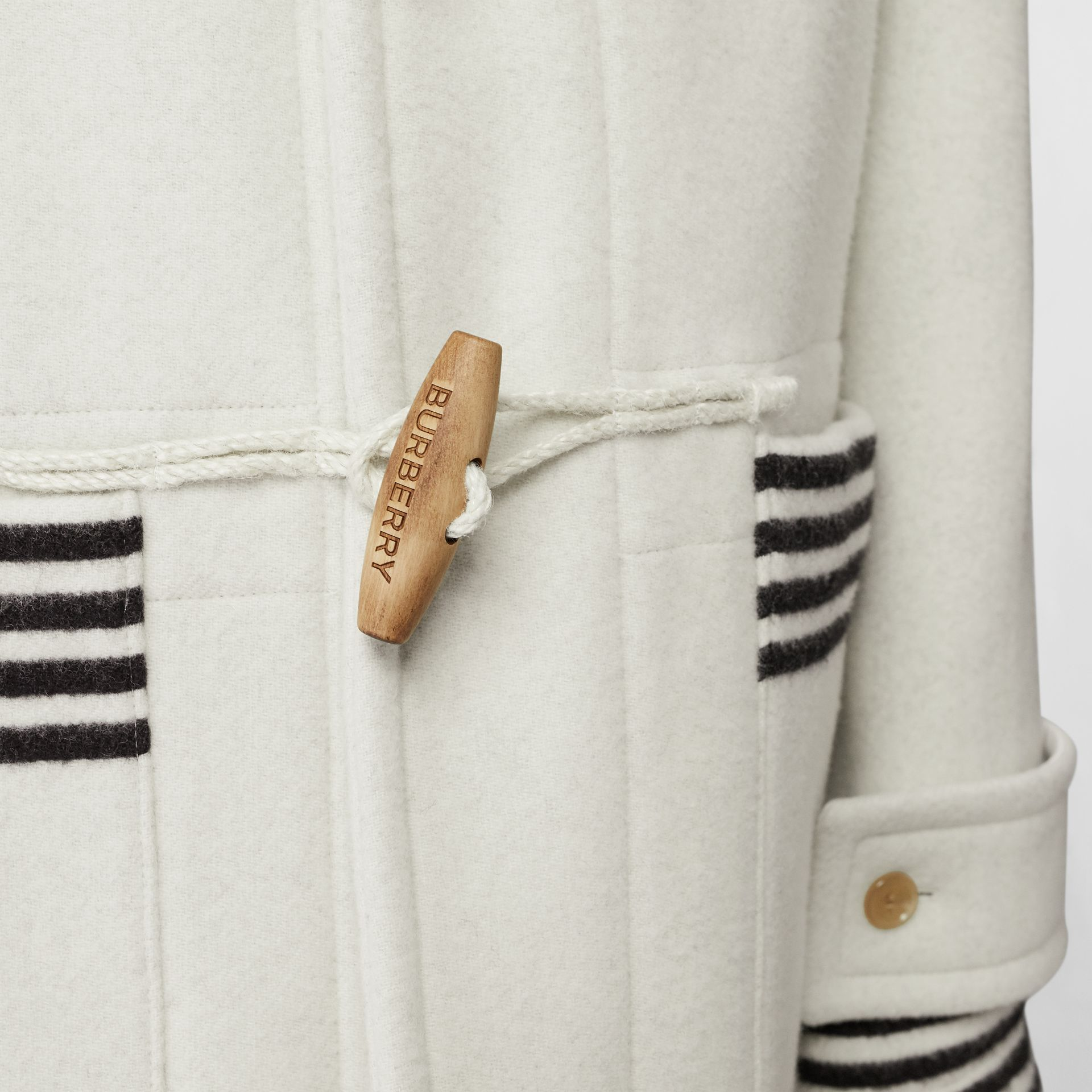 Stripe Detail Double-faced Wool Duffle Coat in White - Men | Burberry - gallery image 6
