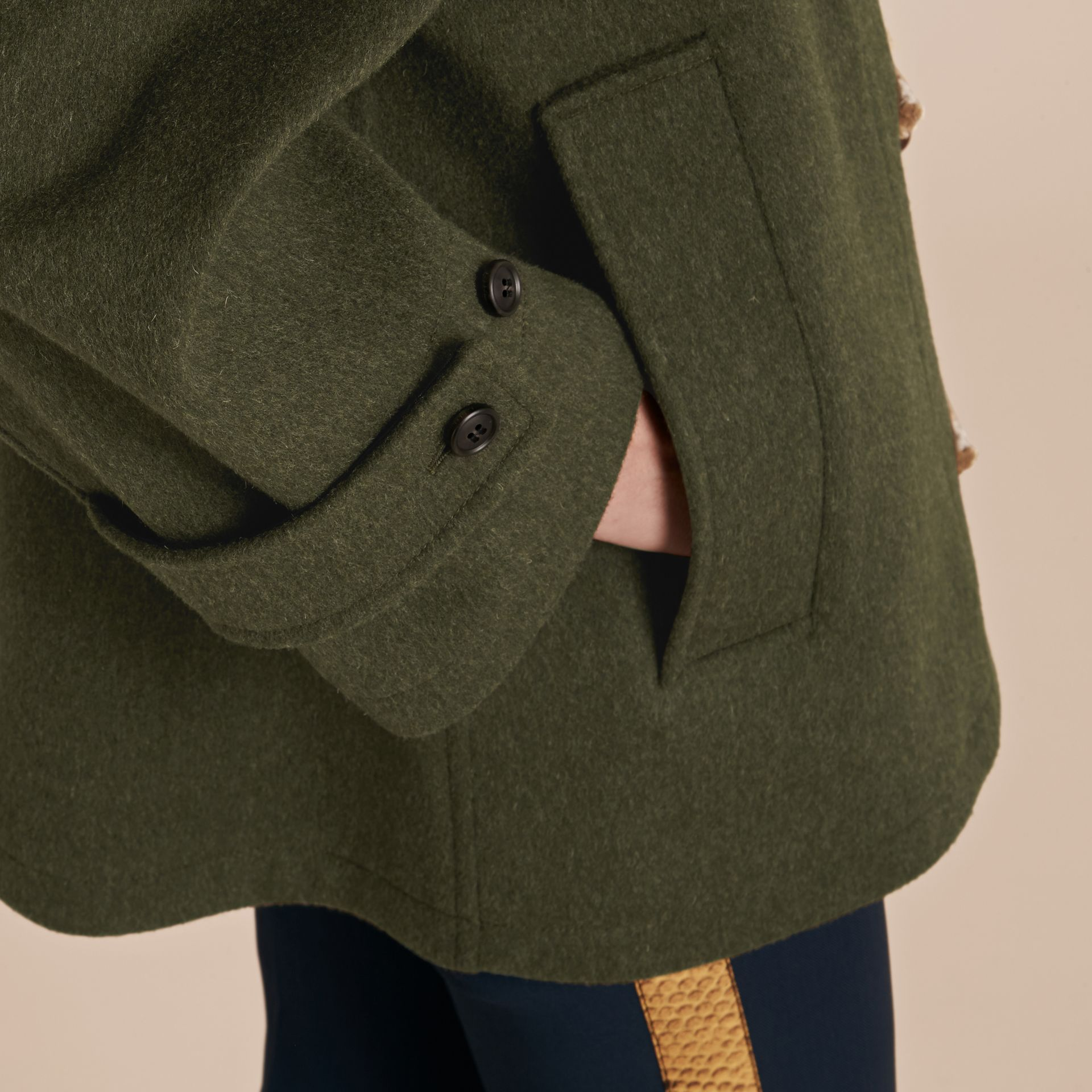 Moss green Military Wool Duffle Coat - gallery image 6