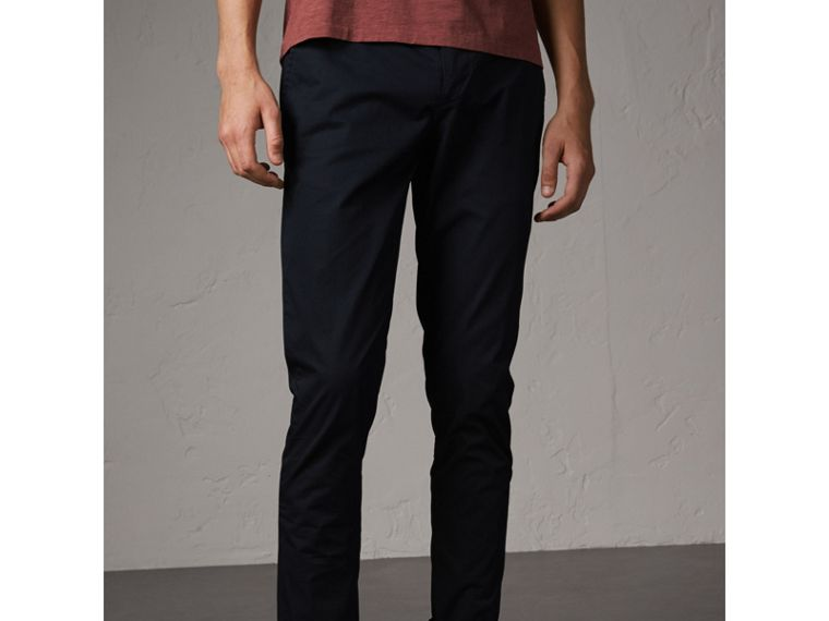 Slim Fit Cotton Chinos in Ink - Men | Burberry - cell image 4
