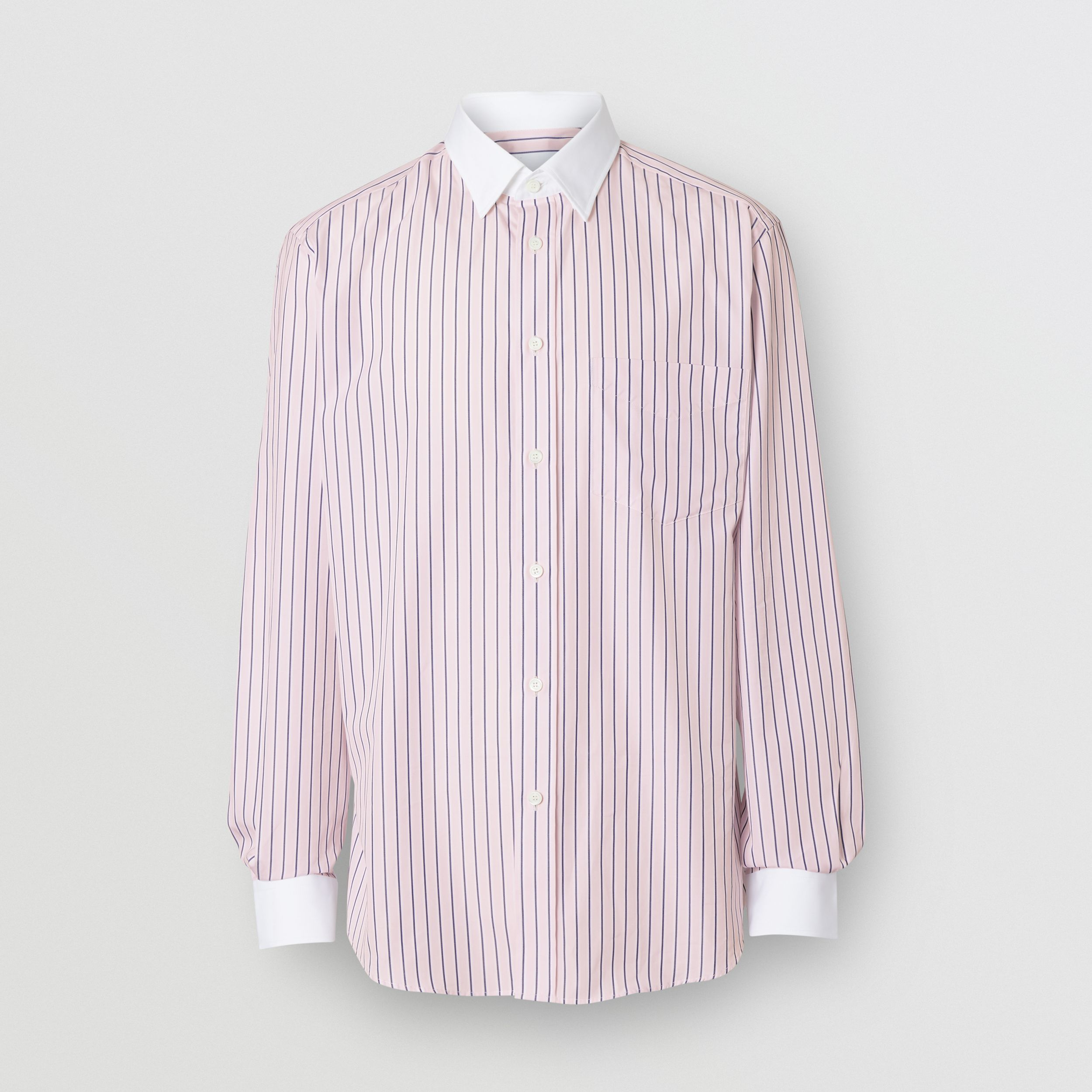 Classic Fit Monogram Motif Striped Cotton Shirt in Alabaster Pink | Burberry - 4