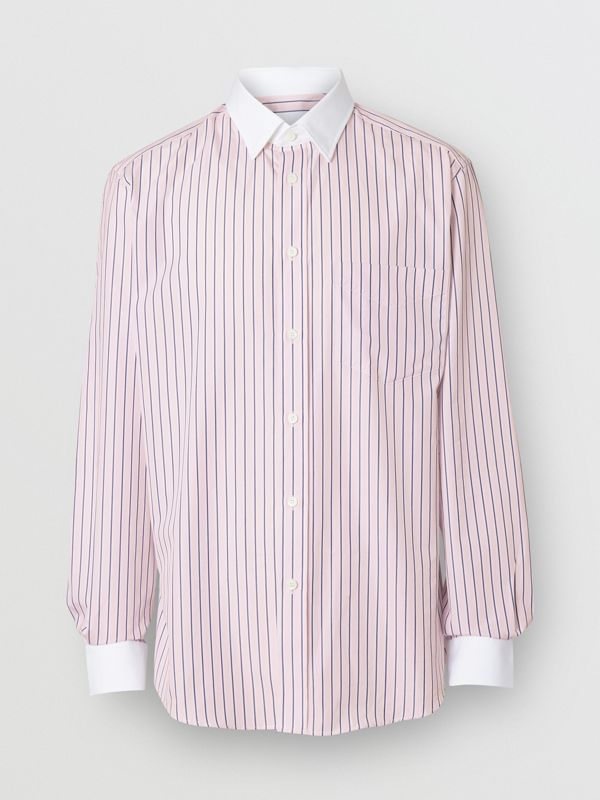 Classic Fit Monogram Motif Striped Cotton Shirt in Alabaster Pink - Men | Burberry - cell image 3