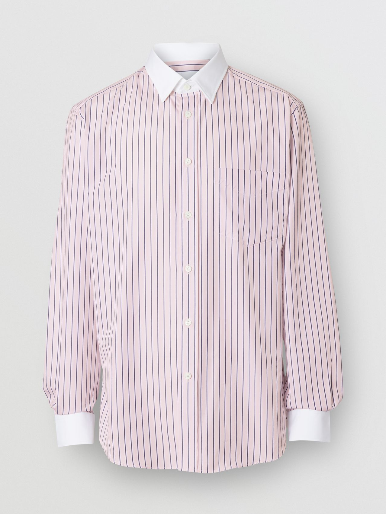 Classic Fit Monogram Motif Striped Cotton Shirt in Alabaster Pink