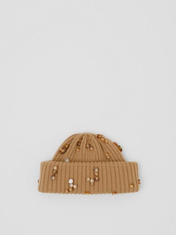 Bonnet en maille de laine côtelée (Camel Intense)