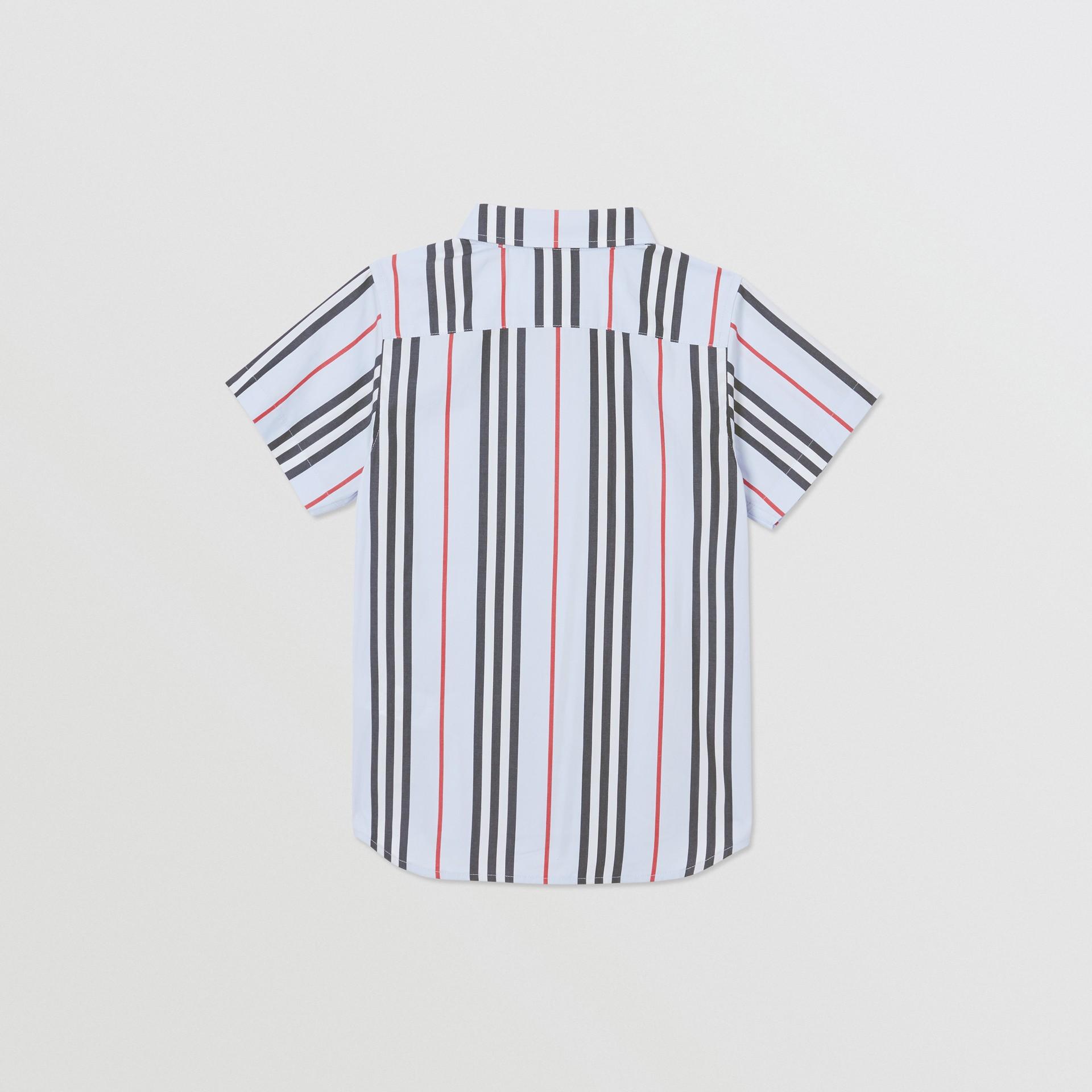 Short-sleeve Icon Stripe Cotton Poplin Shirt in Pale Blue | Burberry United Kingdom - gallery image 3