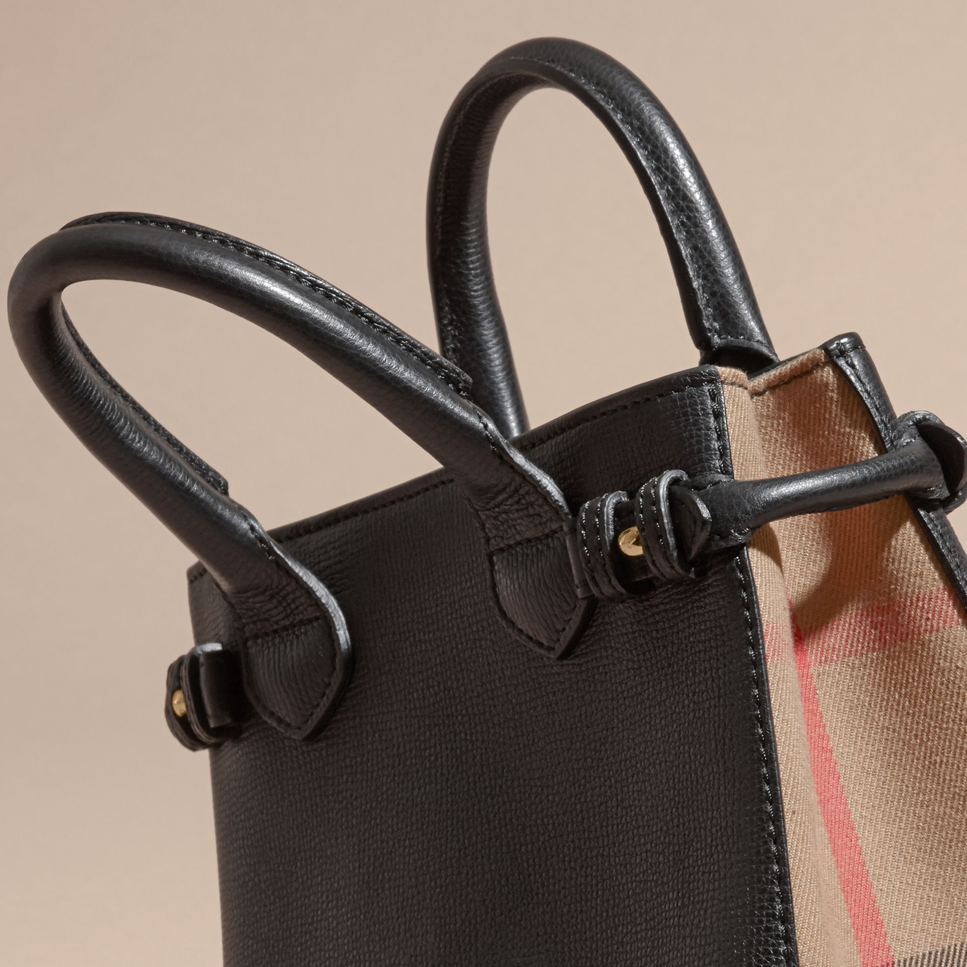 The Baby Banner in Leather and House Check in Black - Women | Burberry - gallery image 2