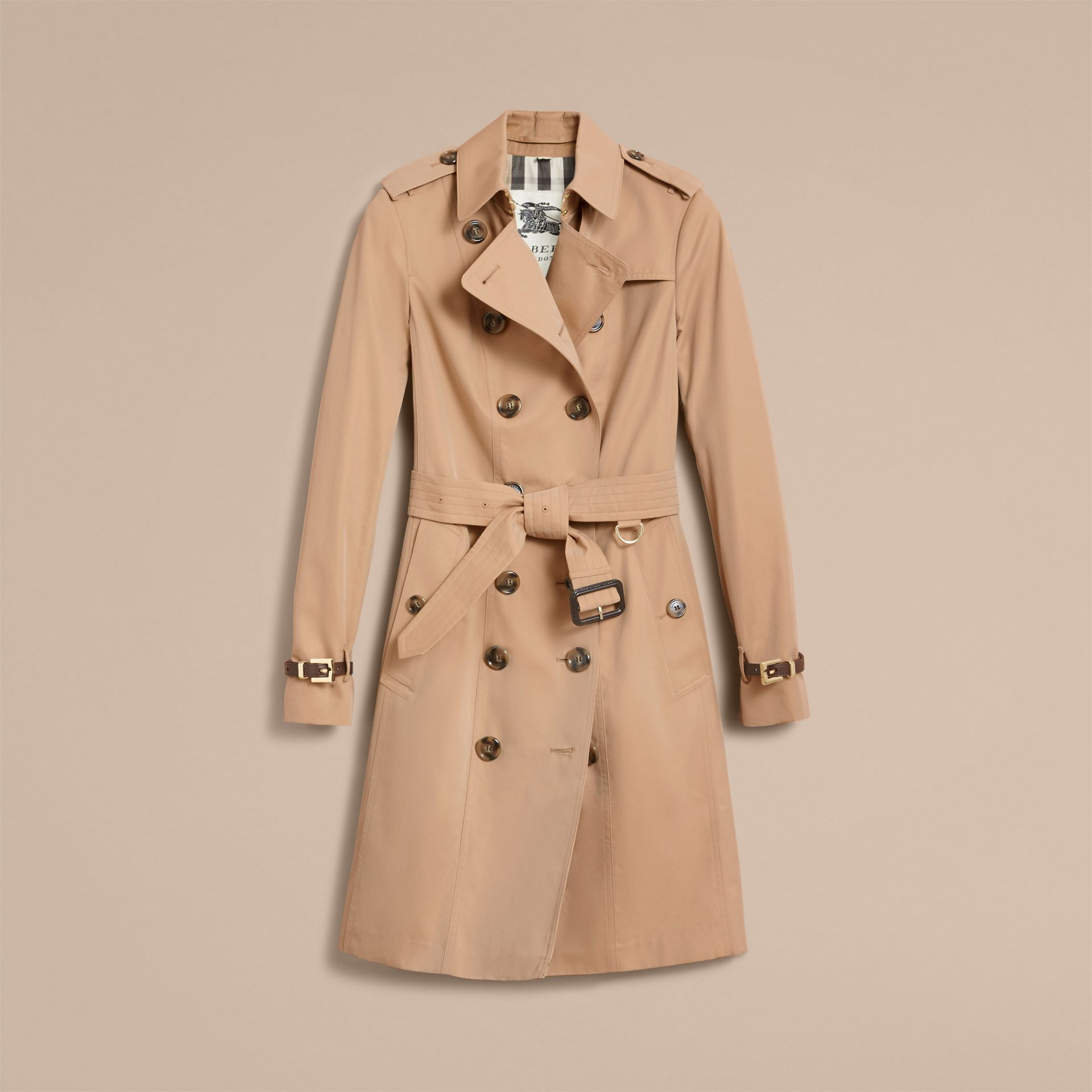 Leather Trim Cotton Gabardine Trench Coat Honey - gallery image 4