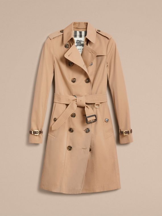 Leather Trim Cotton Gabardine Trench Coat in Honey - cell image 3