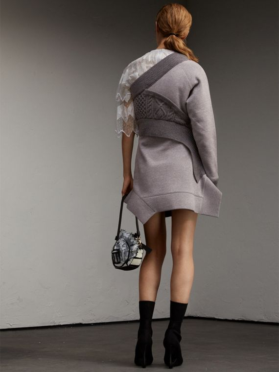 Cable Knit Panel Sweatshirt Dress in Grey Melange - Women | Burberry - cell image 2