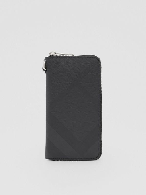 London Check and Leather Phone Wallet in Dark Charcoal