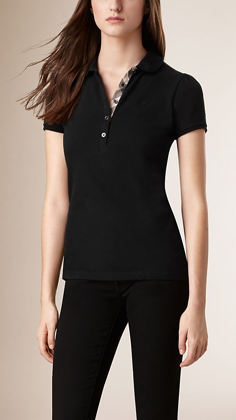 Black Check Placket Polo Shirt - Image 1