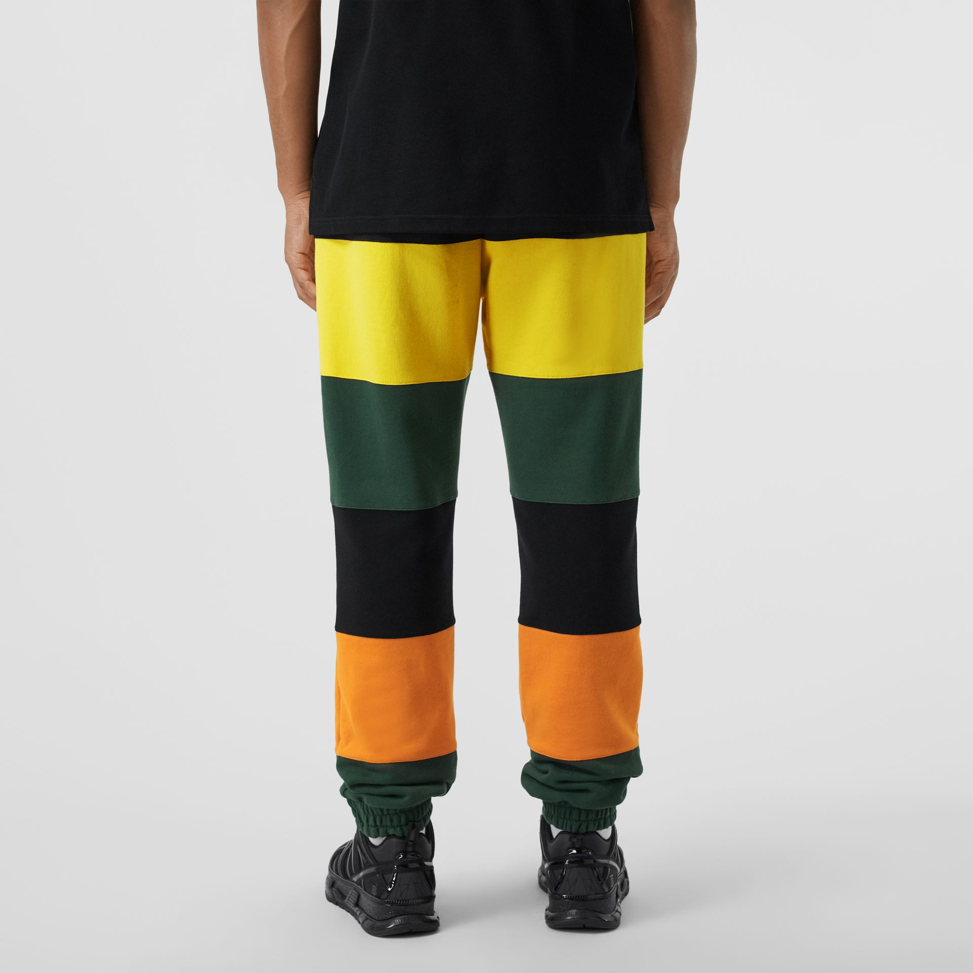 Logo Graphic Colour Block Cotton Trackpants in Canary Yellow - Men | Burberry Hong Kong S.A.R - gallery image 2