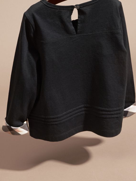Black Long-sleeved Check Detail Cotton T-shirt - cell image 3