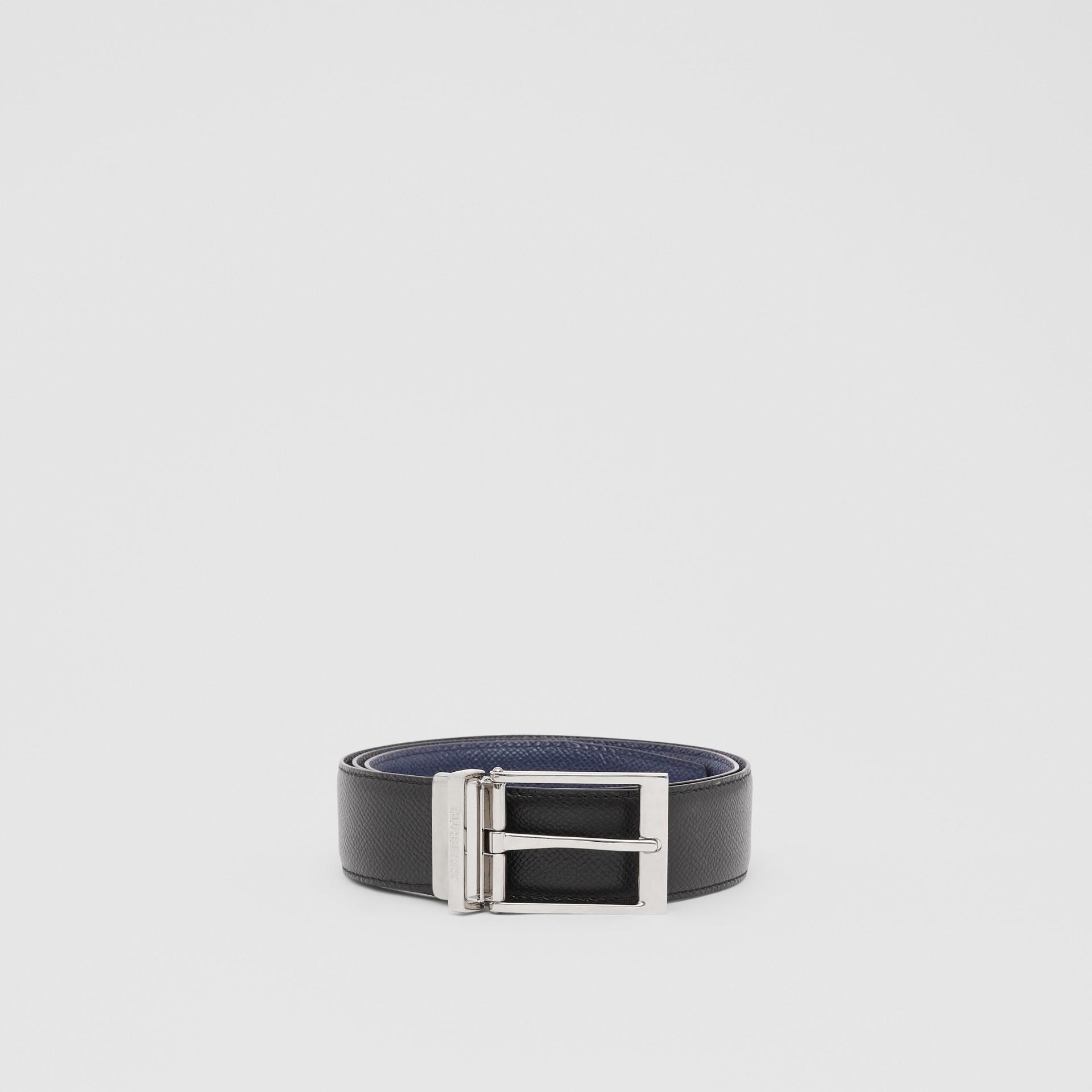 Reversible Grainy Leather Belt in Navy/black - Men | Burberry - gallery image 3
