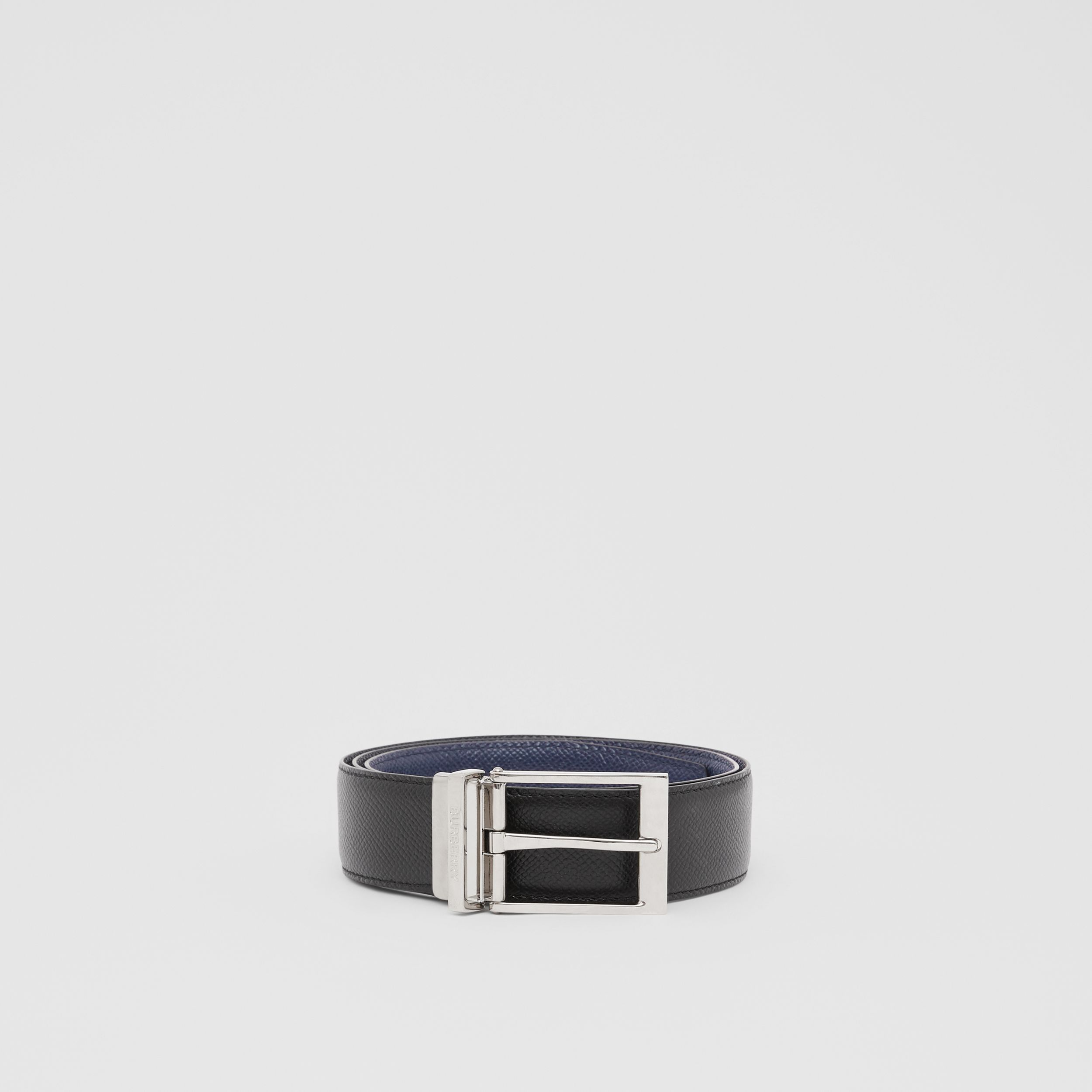 Reversible Grainy Leather Belt in Navy/black - Men | Burberry - 4