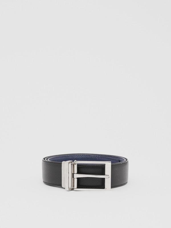 Reversible Grainy Leather Belt in Navy/black - Men | Burberry - cell image 3