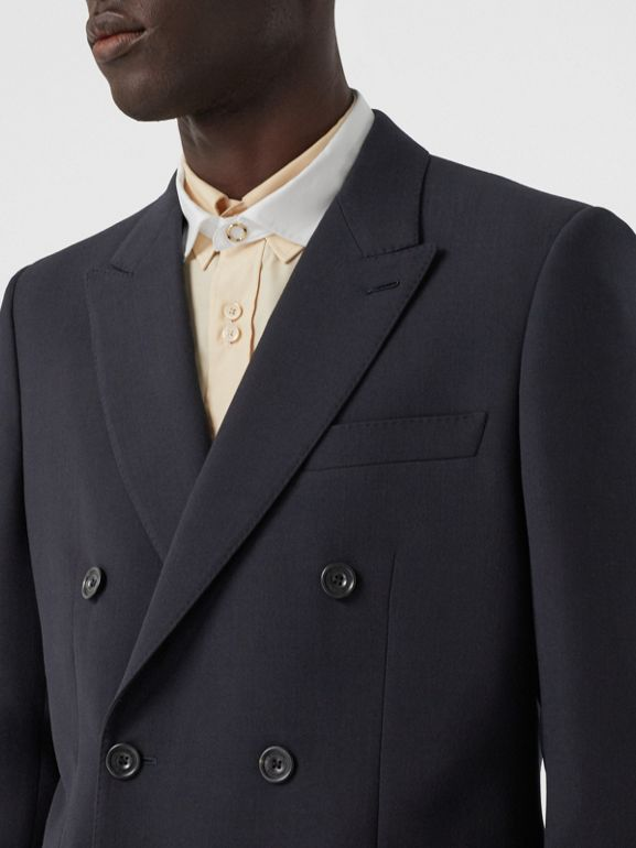 English Fit Double-faced Wool Crepe Tailored Jacket in Navy - Men | Burberry - cell image 1