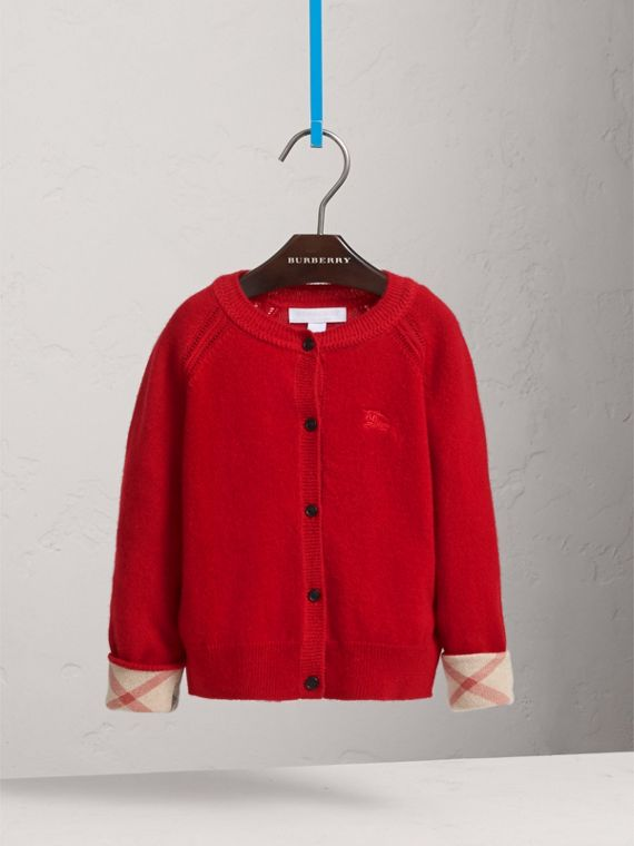 Check Cuff Cashmere Cardigan in Parade Red - Girl | Burberry - cell image 2