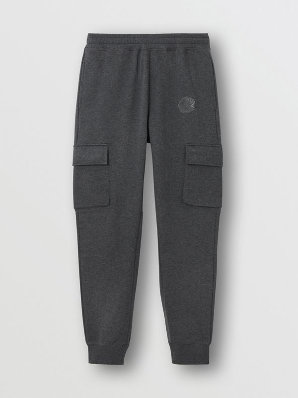 Pocket Detail Cotton Jersey Trackpants in Mid Grey Melange - Men | Burberry - cell image 3