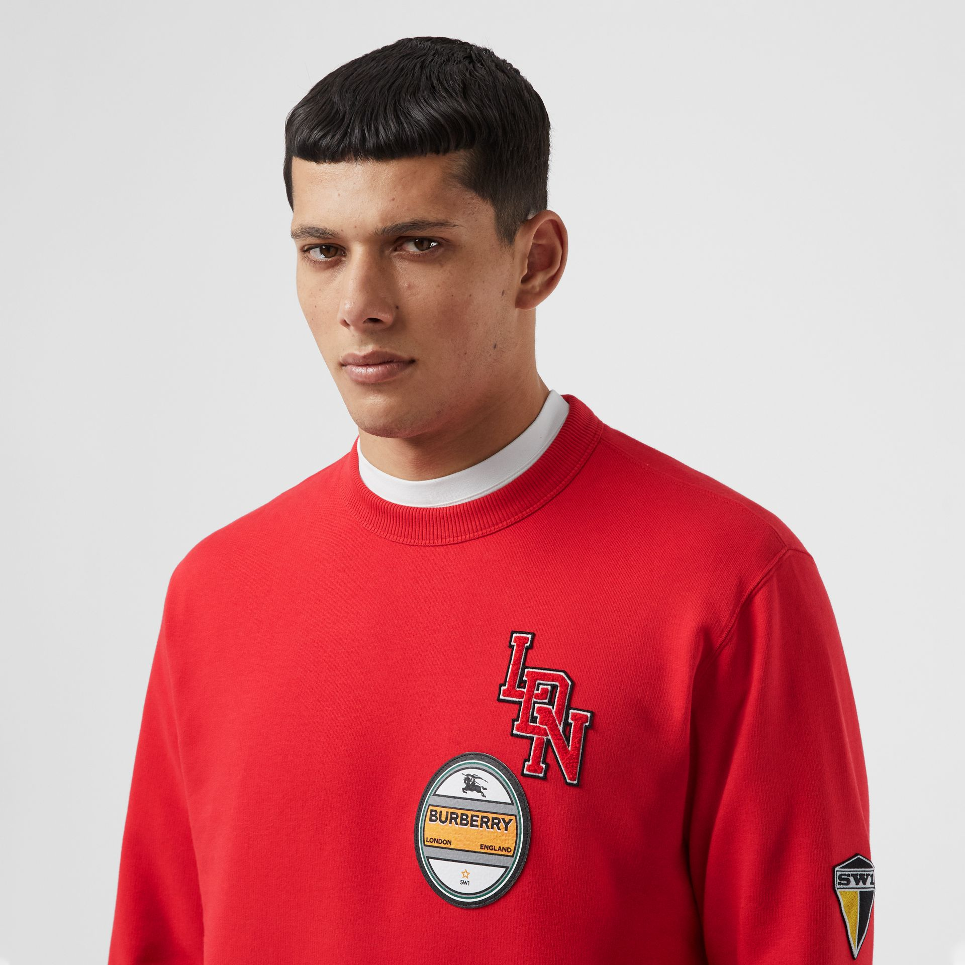 Logo Graphic Cotton Sweatshirt in Bright Red - Men | Burberry - gallery image 1