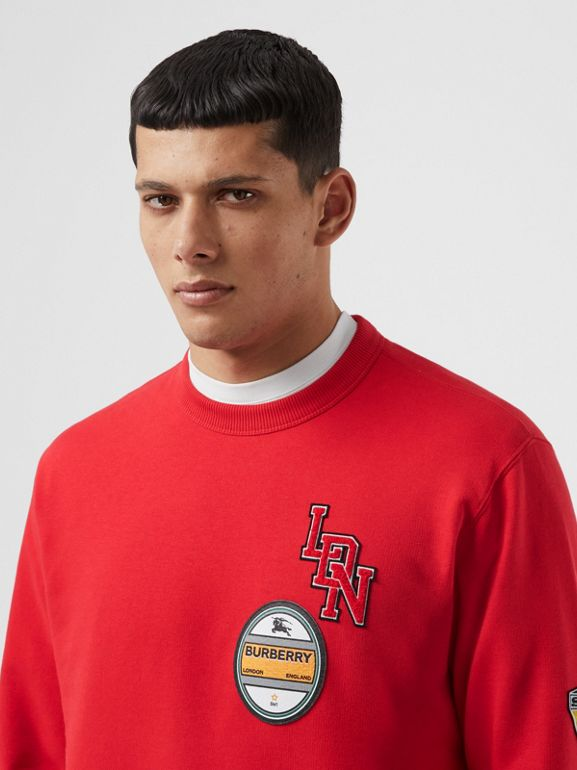 Logo Graphic Cotton Sweatshirt in Bright Red - Men | Burberry - cell image 1