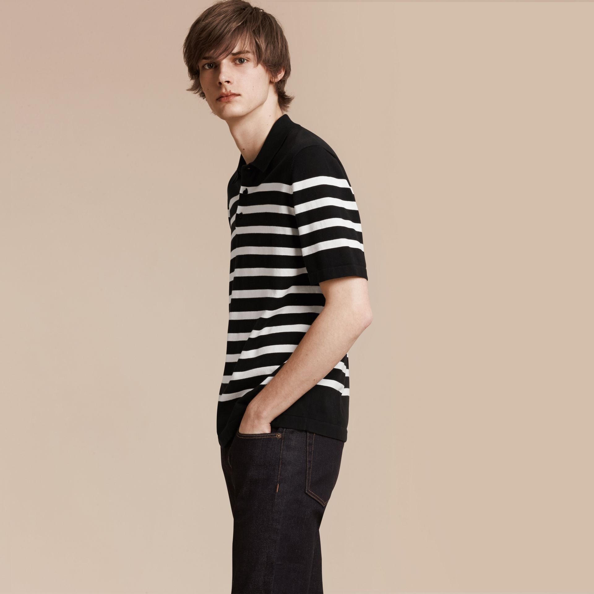 Black/white Striped Cotton Polo Shirt Black/white - gallery image 1