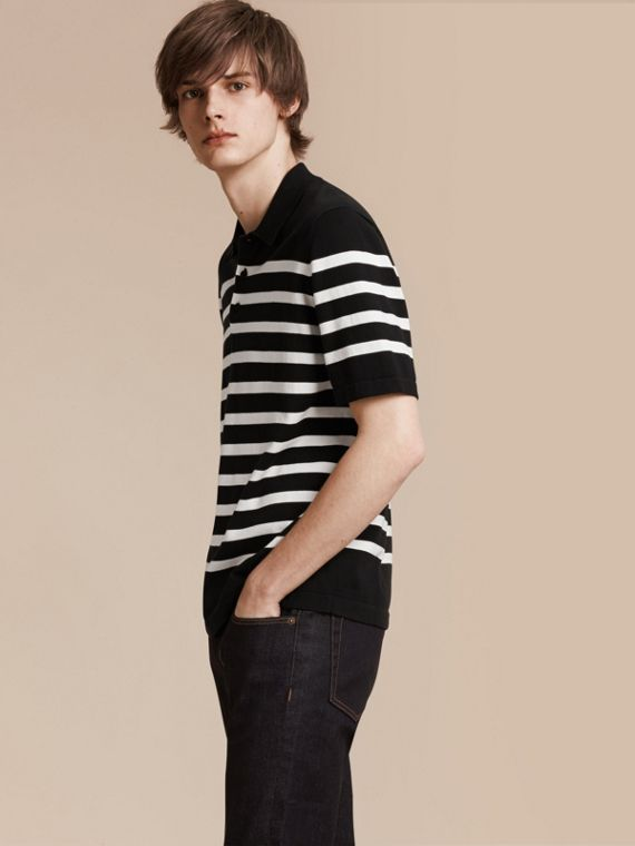 Striped Cotton Polo Shirt Black/white