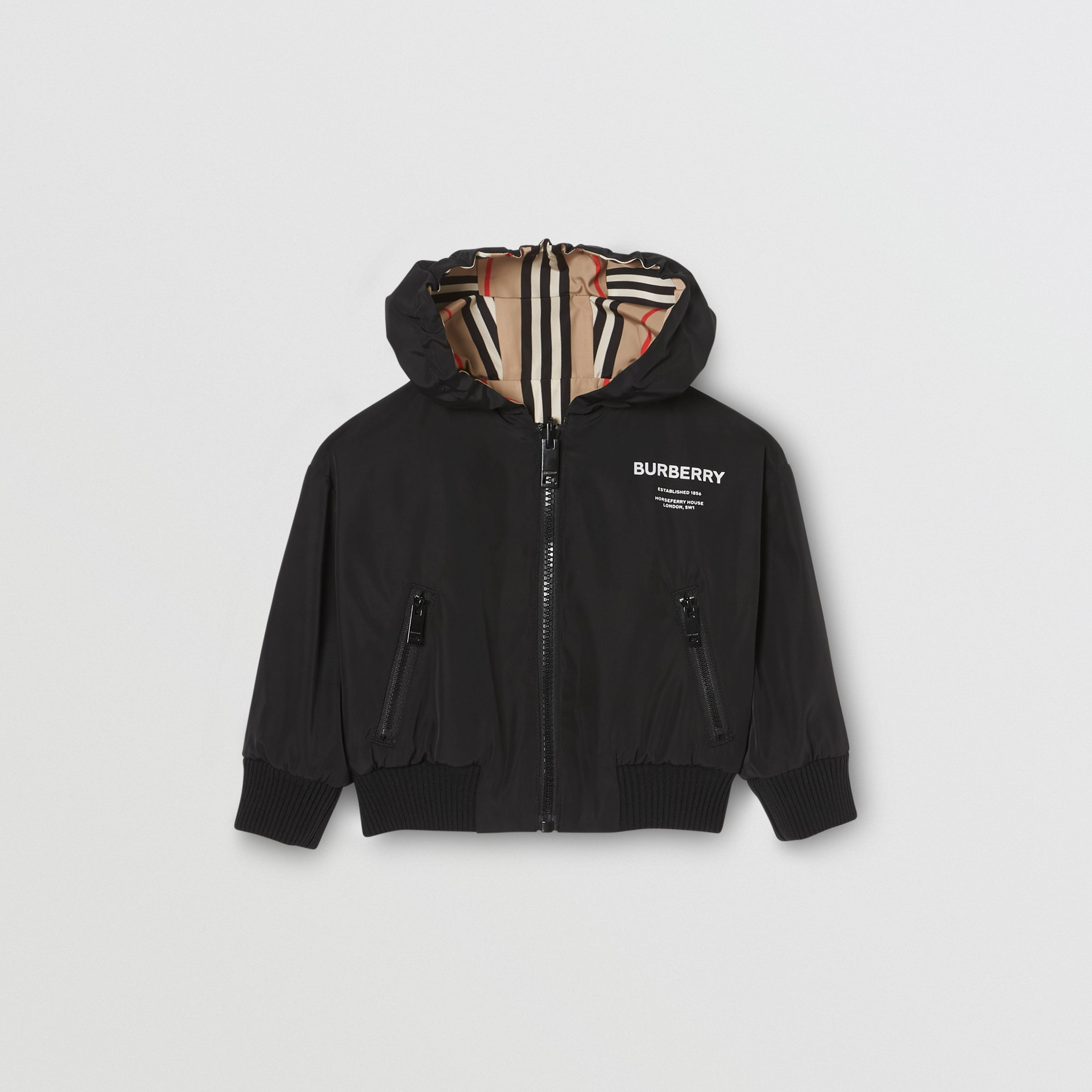 Reversible Icon Stripe Hooded Jacket in Black - Children | Burberry Canada - 1