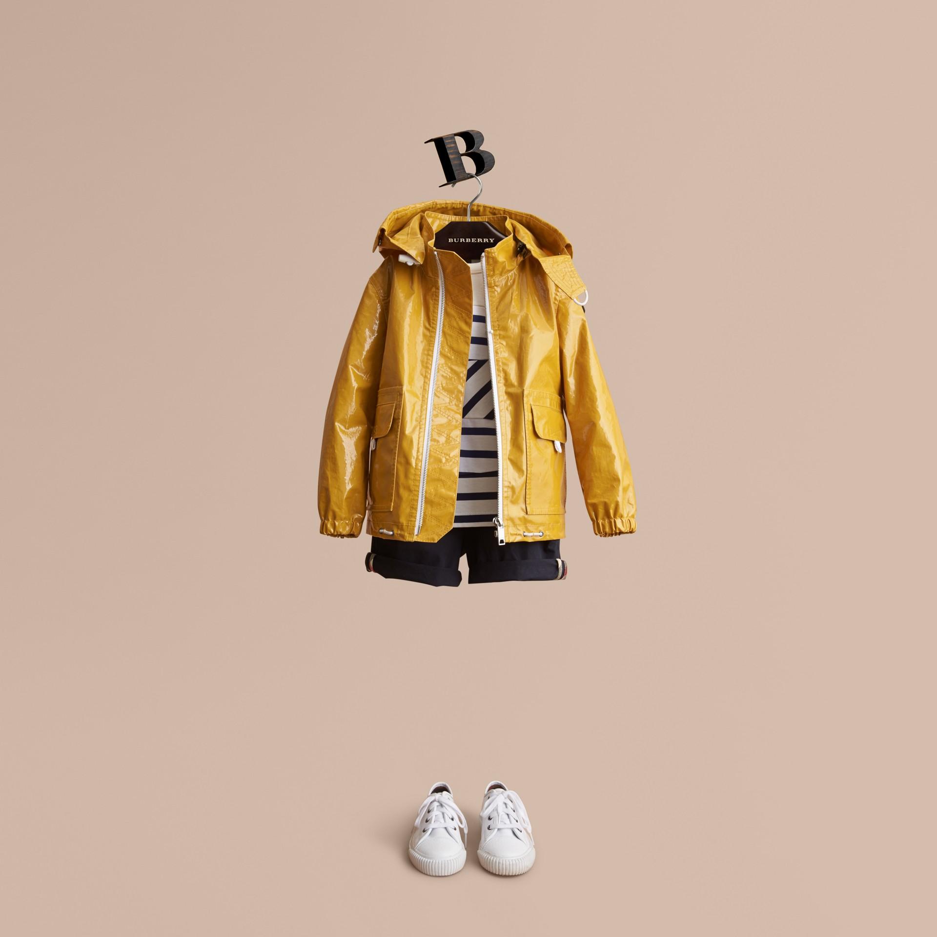 Glossy Showerproof Jacket with Detachable Hood - gallery image 1