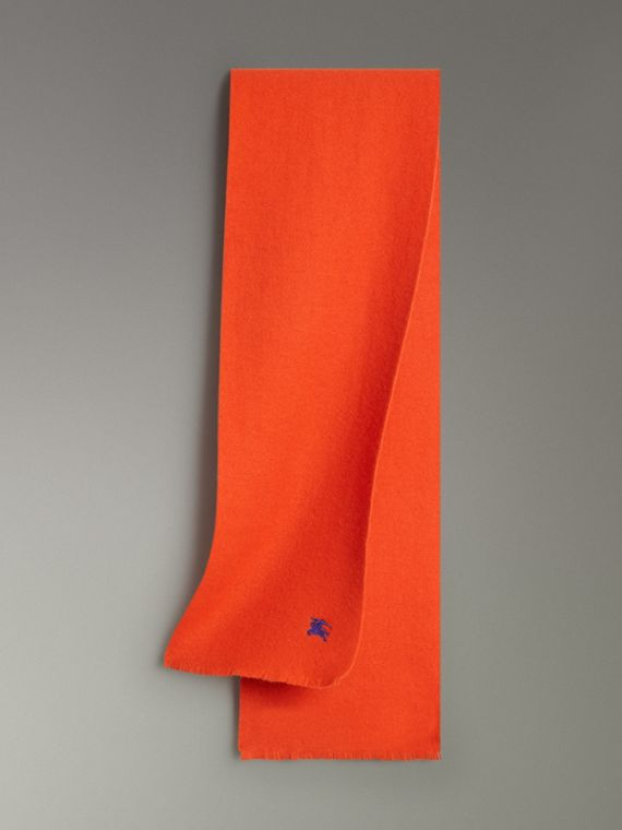 Embroidered Felted Wool Scarf in Clementine