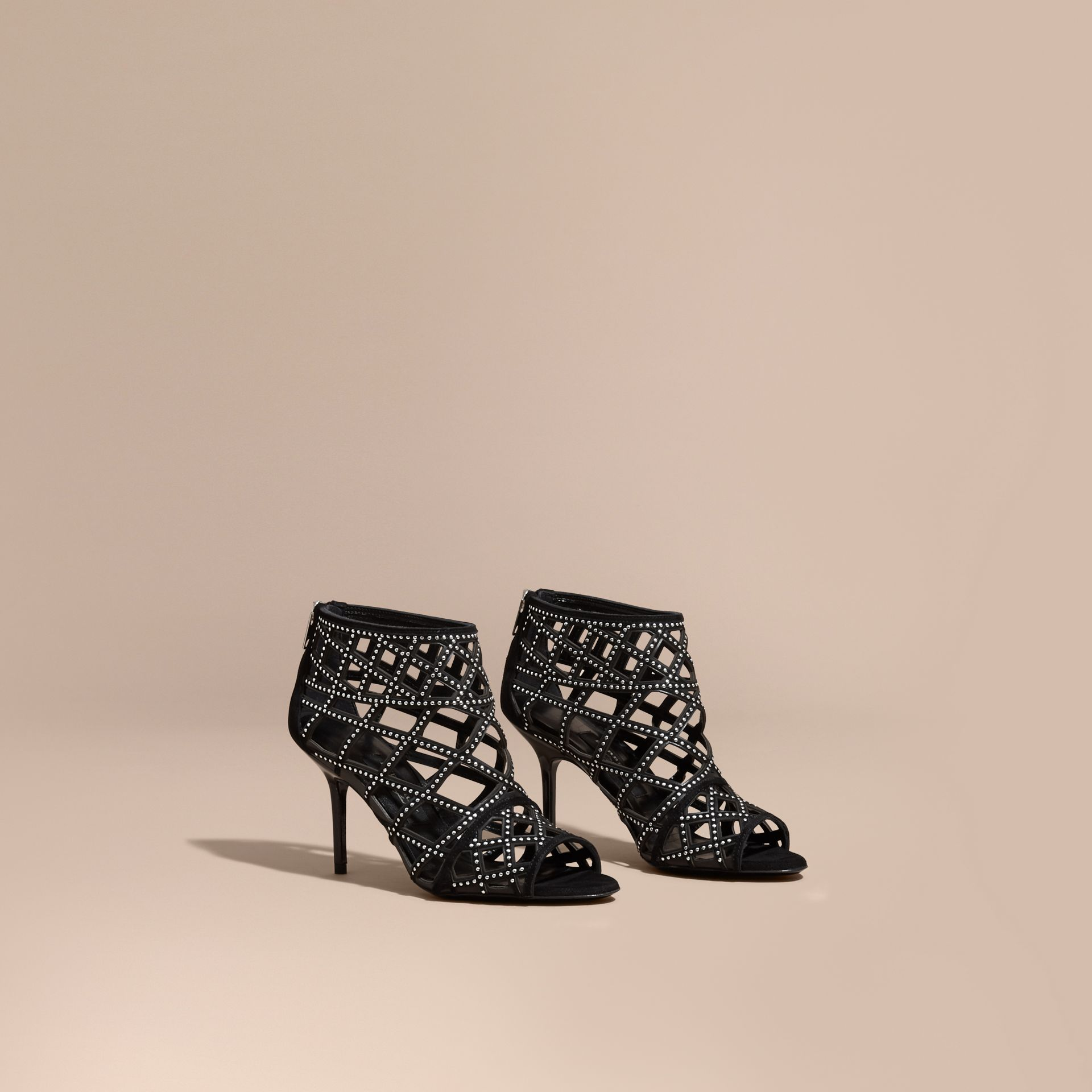 Black Studded Cut-out Leather Peep-toe Ankle Boots - gallery image 1